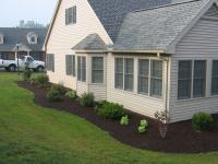Curved edge shrubbery bed with bark much surrounding the house