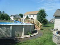 Pool Landscaping - flower bed with stone ground cover and block border