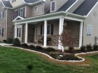 Tree landscape design with white block border, Shippensburg, Pennsylvania