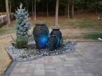 urn fire fountains, colored lights