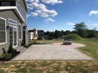 paver patio, fire pit, paver circle ring