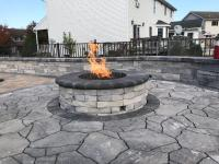 flagstone circle ring, fire pit, sitting wall