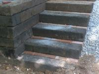 railroad tie retaining wall and steps with brick, work in progress