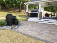 paver patio, fountains, landscaping