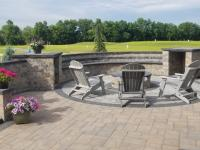 courtyard walls, fire pit, paver patio, landscaping