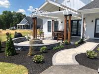sidewalk, fire pit, sitting wall, paver patio