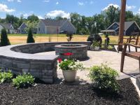 sitting wall, fire pit, paver circle ring