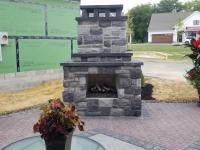 block & veneer fireplace, paver patio