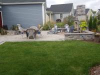 outdoor fireplace, paver patio, sitting walls