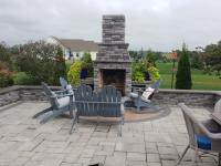backyard retreat with outdoor fireplace in Boiling Springs