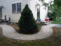 Curved sidewalk laid with landscape pavers, Chambersburg, PA