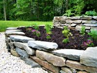 Rock retaining wall with old fashioned look, Carlisle, PA