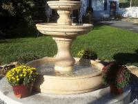 Two tier ornamental water fountain set on concrete base, Shippensburg, PA